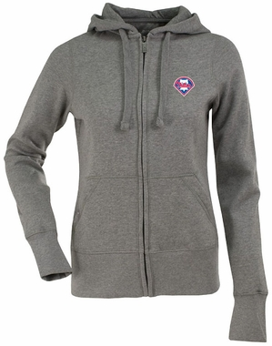 Philadelphia Phillies Womens Zip Front Hoody Sweatshirt (Color: Gray)