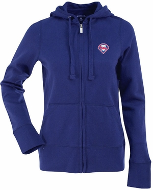 Philadelphia Phillies Womens Zip Front Hoody Sweatshirt (Team Color: Royal)