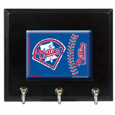 Philadelphia Phillies Wooden Keyhook Rack