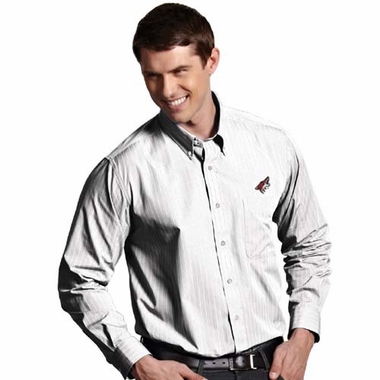 Arizona Coyotes Mens Achieve Striped Button Down Dress Shirt (Color: White)