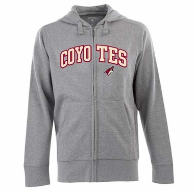 Arizona Coyotes Mens Applique Full Zip Hooded Sweatshirt (Color: Gray)