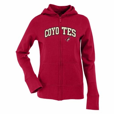 Arizona Coyotes Applique Womens Zip Front Hoody Sweatshirt (Team Color: Maroon)