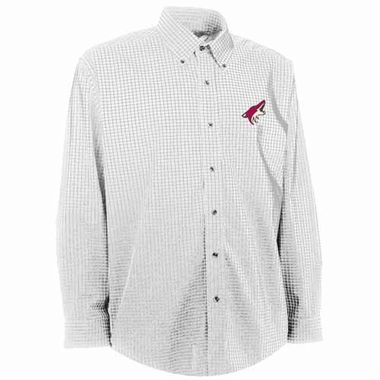 Arizona Coyotes Mens Esteem Check Pattern Button Down Dress Shirt (Color: White)