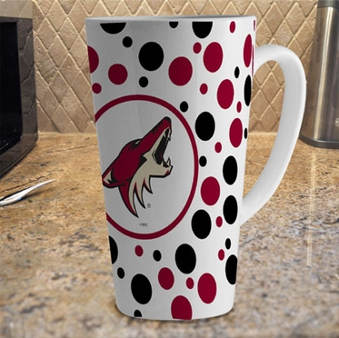 Arizona Coyotes Polkadot 16 oz. Ceramic Latte Mug