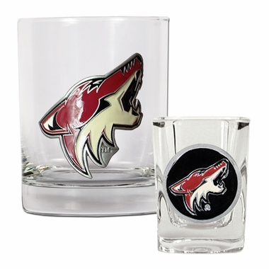Arizona Coyotes Rocks and Shot Glass Set