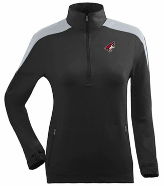 Arizona Coyotes Womens Succeed 1/4 Zip Performance Pullover (Team Color: Black)