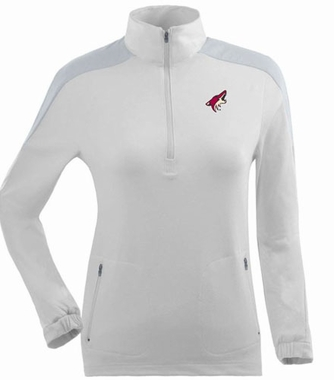 Arizona Coyotes Womens Succeed 1/4 Zip Performance Pullover (Color: White)