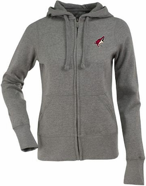 Arizona Coyotes Womens Zip Front Hoody Sweatshirt (Color: Gray)