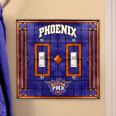 Phoenix Suns Art Glass Lightswitch Cover (Double)