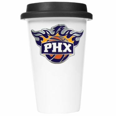 Phoenix Suns Ceramic Travel Cup (Black Lid)