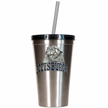 Pitt 16oz Stainless Steel Insulated Tumbler with Straw
