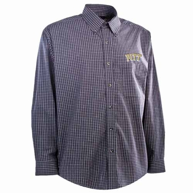Pitt Mens Esteem Check Pattern Button Down Dress Shirt (Team Color: Navy)