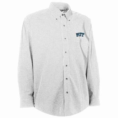 Pitt Mens Esteem Check Pattern Button Down Dress Shirt (Color: White)