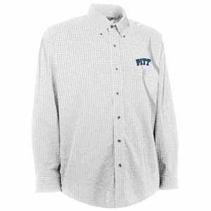 Pitt Mens Esteem Check Pattern Button Down Dress Shirt (Color: White) - Medium