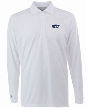 Pitt Mens Long Sleeve Polo Shirt (Color: White)