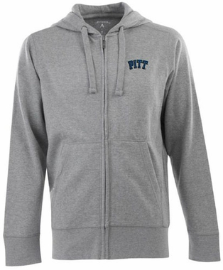 Pitt Mens Signature Full Zip Hooded Sweatshirt (Color: Gray)