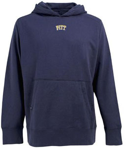 Pitt Mens Signature Hooded Sweatshirt (Color: Navy) - Small