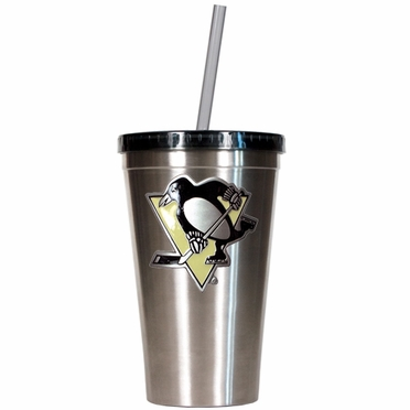 Pittsburgh Penguins 16oz Stainless Steel Insulated Tumbler with Straw