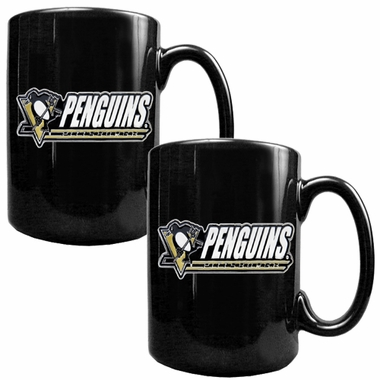 Pittsburgh Penguins 2 Piece Coffee Mug Set (Wordmark)