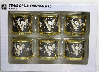 Pittsburgh Penguins 2012 Plastic Drum 6 Pack Ornament Set