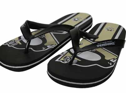 Pittsburgh Penguins 2012 Unisex Big Logo Flip Flops - Medium