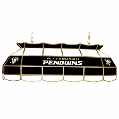 Pittsburgh Penguins 40 Inch Rectangular Stained Glass Billiard Light
