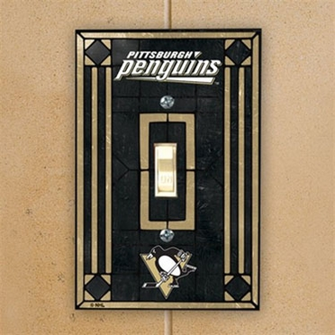 Pittsburgh Penguins Art Glass Lightswitch Cover