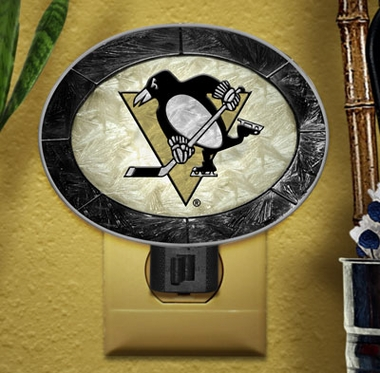 Pittsburgh Penguins Art Glass Night Light