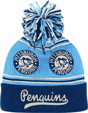 Pittsburgh Penguins CCM Repeating Logo Cuffed Pom Knit Hat