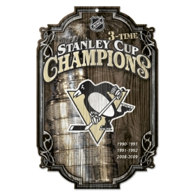 Pittsburgh Penguins Wood Sign - 3 Time Champ