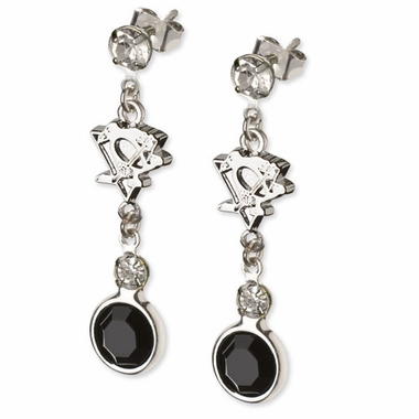 Pittsburgh Penguins Crystal Logo Dangle Earrings