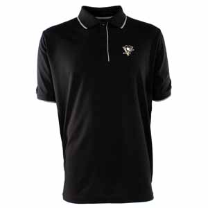 Pittsburgh Penguins Mens Elite Polo Shirt (Team Color: Black) - X-Large