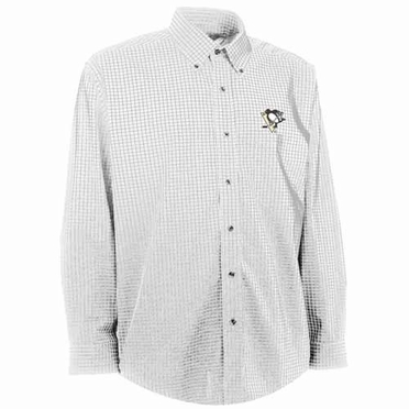 Pittsburgh Penguins Mens Esteem Check Pattern Button Down Dress Shirt (Color: White)