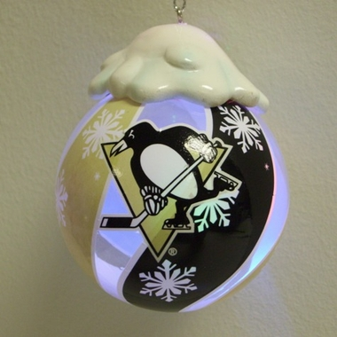 Pittsburgh Penguins Light Up Glass Ball Ornament