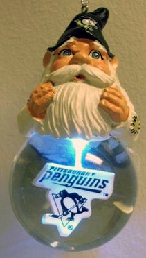 Pittsburgh Penguins Light Up Gnome Snow Globe Ornament