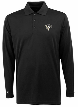 Pittsburgh Penguins Mens Long Sleeve Polo Shirt (Team Color: Black)