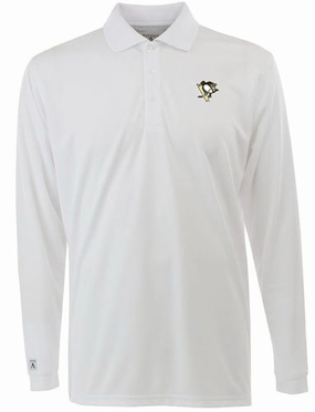 Pittsburgh Penguins Mens Long Sleeve Polo Shirt (Color: White)