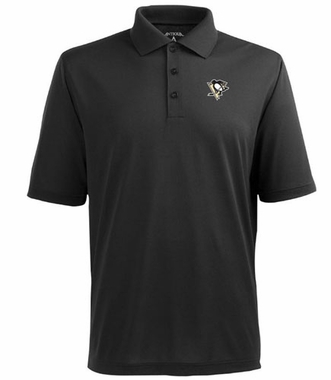 Pittsburgh Penguins Mens Pique Xtra Lite Polo Shirt (Team Color: Black)