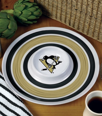 Pittsburgh Penguins Plastic Chip and Dip Plate