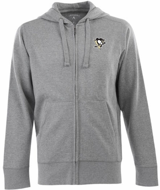 Pittsburgh Penguins Mens Signature Full Zip Hooded Sweatshirt (Color: Gray)