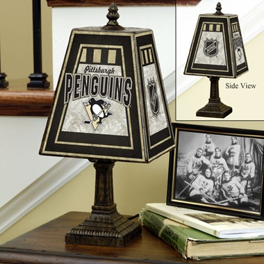 Pittsburgh Penguins Small Art Glass Lamp