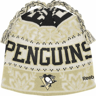 Pittsburgh Penguins Snowflake Pattern Tassel Knit Hat
