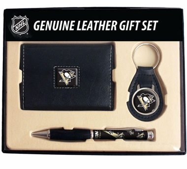 Pittsburgh Penguins Trifold Wallet Key Fob and Pen Gift Set