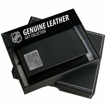 Pittsburgh Penguins Trifold Wallet With Metal Logo
