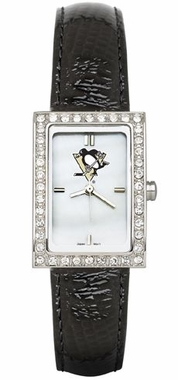 Pittsburgh Penguins Women's Black Leather Strap Allure Watch