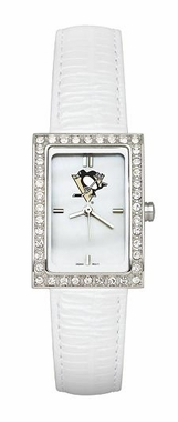 Pittsburgh Penguins Women's White Leather Strap Allure Watch