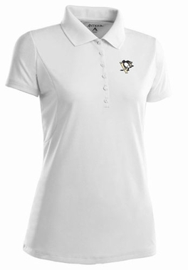 Pittsburgh Penguins Womens Pique Xtra Lite Polo Shirt (Color: White)