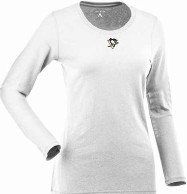 Pittsburgh Penguins Womens Relax Long Sleeve Tee (Color: White)