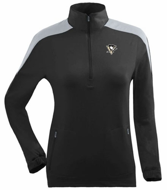 Pittsburgh Penguins Womens Succeed 1/4 Zip Performance Pullover (Team Color: Black)