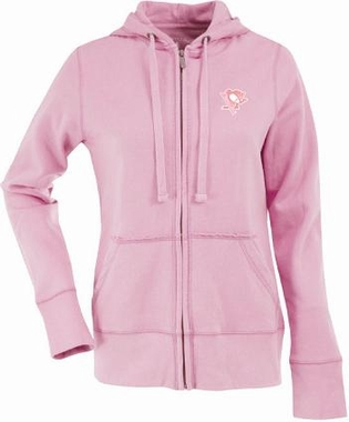 Pittsburgh Penguins Womens Zip Front Hoody Sweatshirt (Color: Pink)
